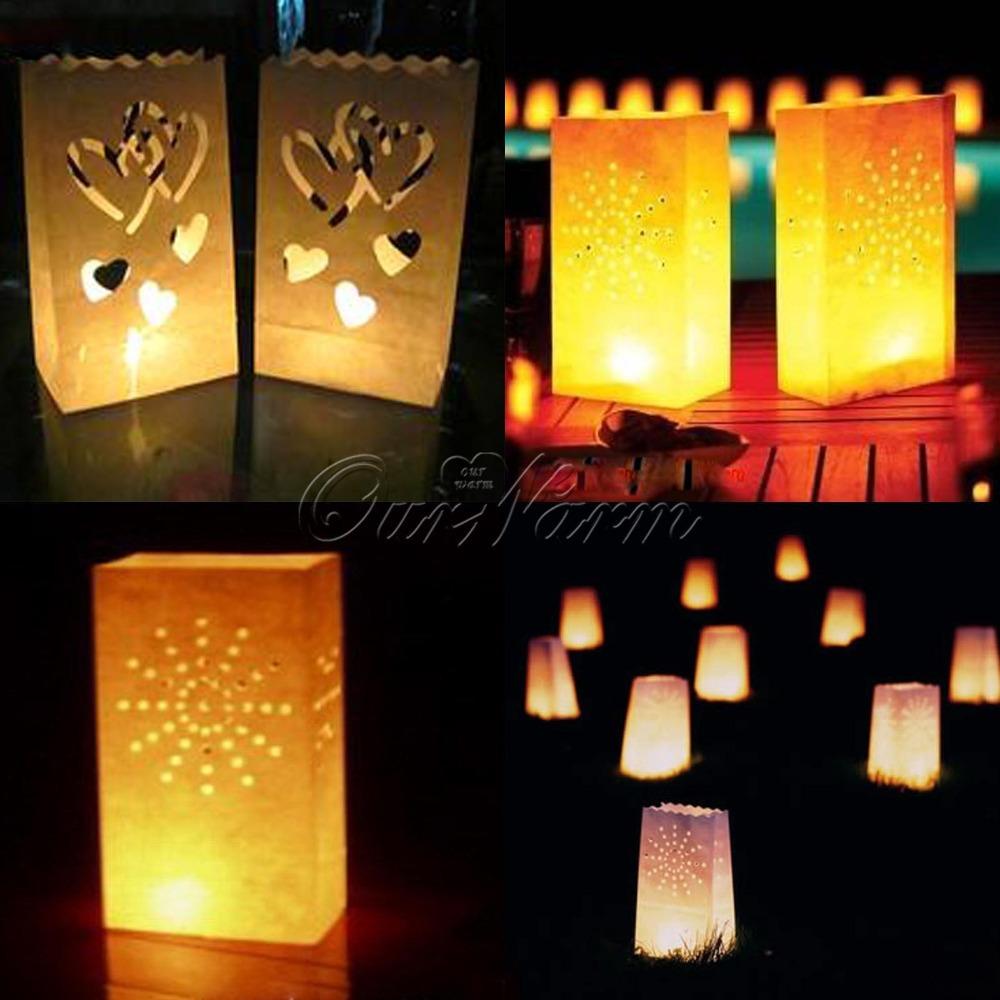 20 Pieces Sunshine Tea light Holder Luminaria Paper Lantern Candle Bag For BBQ Christmas Party Wedding(China (Mainland))