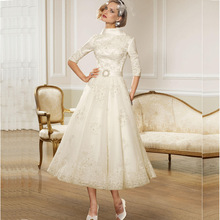 Buy Vestido de noiva curto 2017 High Neck Appliques Short Wedding dresses Half Sleeve Ankle-Length A-Line Bridal Gown Robe mariage for $156.00 in AliExpress store