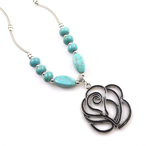 Star Jewelry Tibetan Silver Plated Statement Vintage Necklaces Flower Turquoise necklace & pendants Woman New Z72 - NO.1 store