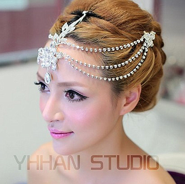 New 2015 Free Shipping Czech Crystal Frontlet Tiara Bridal Hair Accessories Hair Jewelry Wedding Jewelry Wedding Accessories(China (Mainland))