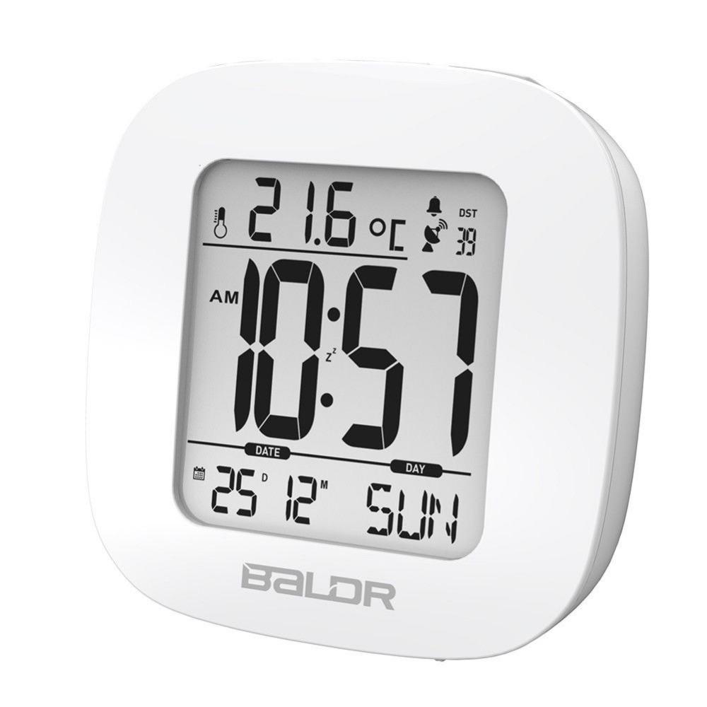 Baldr RCC MSF Mini LCD Alarm Clock Time Temperature Display Calendar Function Travel Clocks Snooze White Backlight Table Clock(China (Mainland))