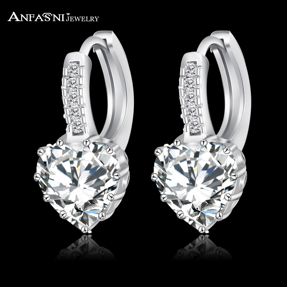 ANFASNI 2017 Top Selling Silver Color Luxury Hoop Earring Inlay Zircon Fashion Brilliant Heart Ladies Wedding Earring CER0151-B(China (Mainland))