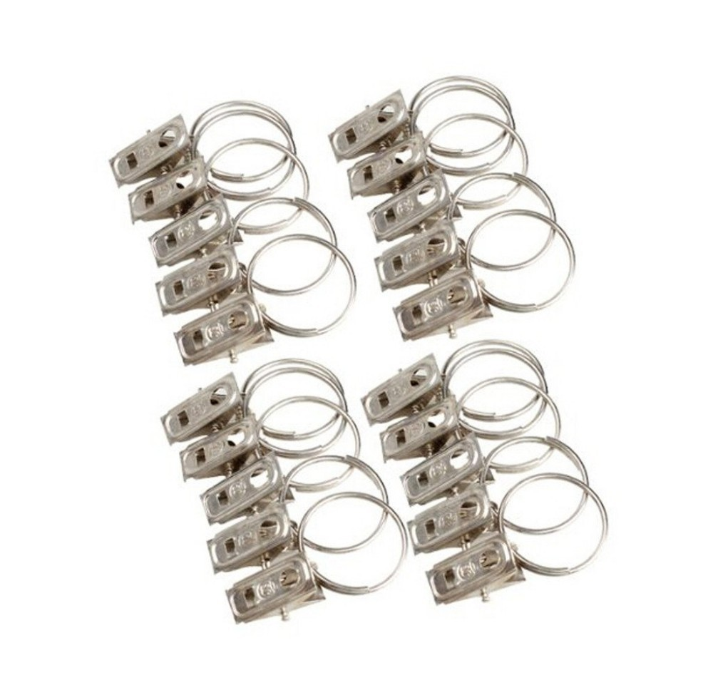 Buy F15043 20pcs Silver Classic Metal Curtain Rod Clips Window Shower Curtain