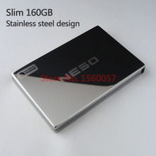 Free shipping Slim Mobile HDD  External Hard Drive 160G Wholesale Price 2.5'' Portable Hard Disk USB2.0 Stainless steel design(China (Mainland))