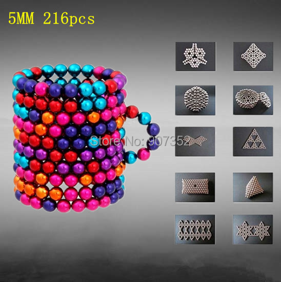 DIY 6 mixed color Retail Cheap Buckyballs Neocube Magic Cube 216 pcs Diameter 5mm Magnetic Balls Education Toy Free Shipping(China (Mainland))
