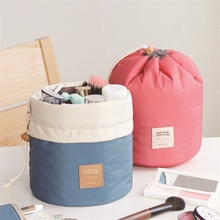 1PC Cylinder Type Waterproof Storage Bag Cosmetic Bags High Volume Layered Space Saver Portable Travel Organizer Pouch 23x17cm(China (Mainland))