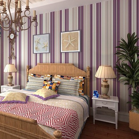 Girl bedroom wallpaper modern purple stripe wallpaper wall paper background wall wallpaper for Modern wallpaper for bedroom