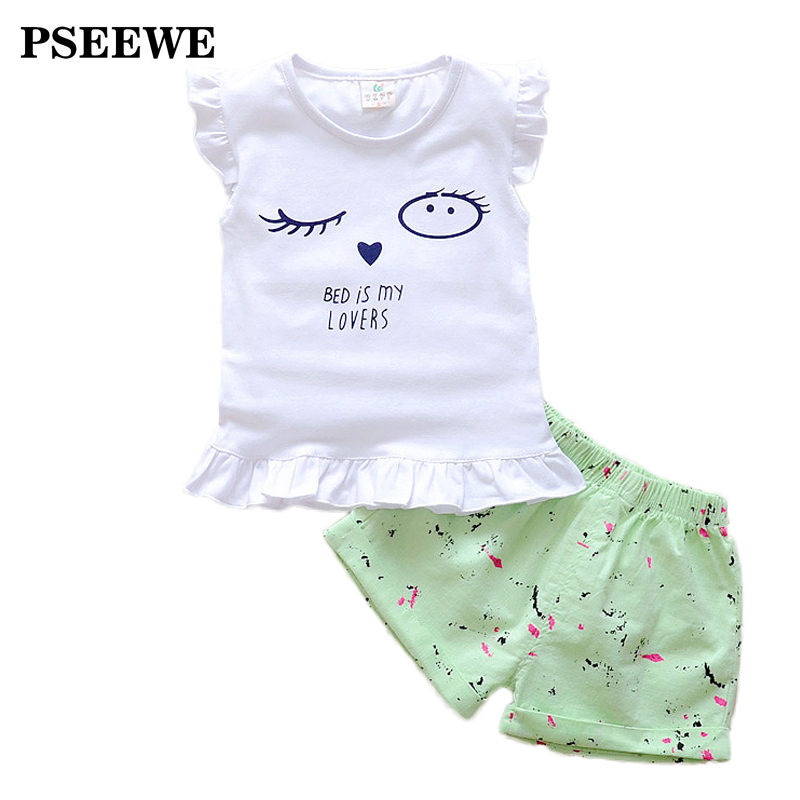 PSEEWE 2016 baby girl clothes set child sport suit girl set cotton T-Shirt + Fluid Systems shorts set baby girl vetement fille(China (Mainland))