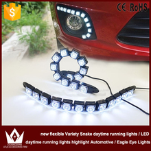 Night Lord free shipping 12pcs SMD new flexible Variety Snake daytime Lights Flexible DRL Daytime Running Light Fog Warning Lamp(China (Mainland))
