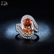 Винтаж большой шампанское каменное кольцо для 925 щепка AAA горный хрусталь кольца элегантный обручальное ювелирные изделия bague DD240(China (Mainland))