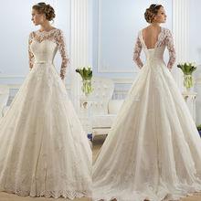 vestidos de novia 2016 wedding dresses Elegant White/Ivory High Neckline A Line Long Sleeve Wedding Gowns open Back Bridal Gown(China (Mainland))