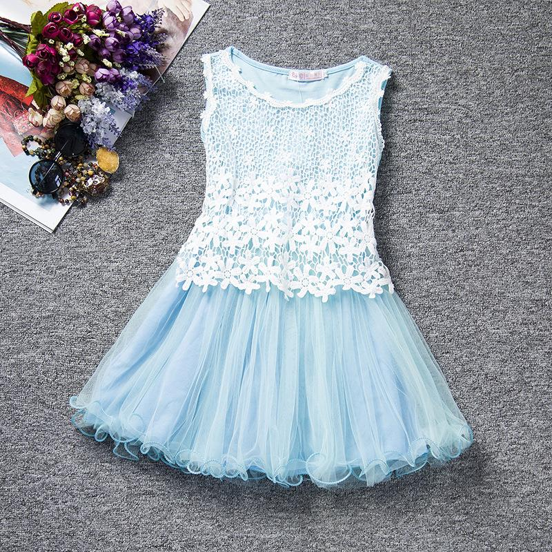 2016 Retail summer Sleeveless children Clothing lace girls dress Cute sweet Baby Kids pretty Dresses Party dess six color JLD009(China (Mainland))
