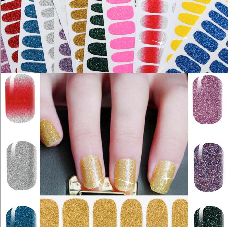 2 packs 12 colors NEW sexy colorful Bling Nail Sticker Tip DIY Nail Art Decals glisten print patch Decoration Easy MH541(China (Mainland))