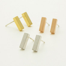 Joyeria Marcas Famosas Stainless Steel Bar Earring Women Geometric Rectangle Gold Earrings BFF Charm Silver Boucles D'Oreilles(China (Mainland))