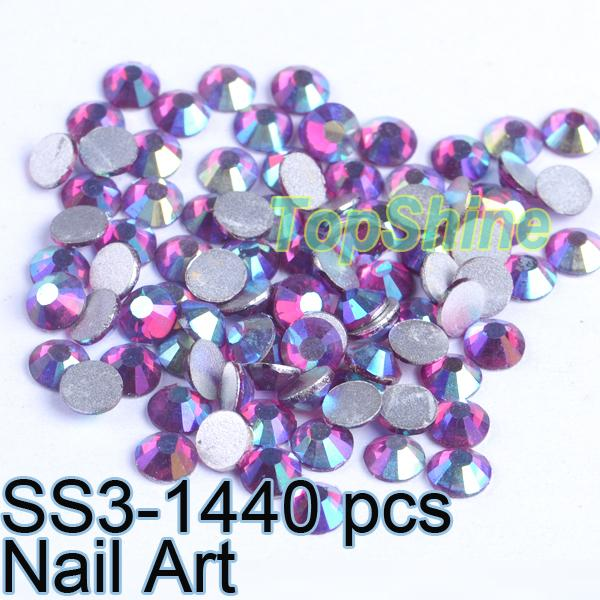 Flatback Glass Crystals Machine Cut 1440pcs/bag Fuchsia AB ss3 (1.3mm-1.5mm) non hotfix Nail Art Rhinestones(China (Mainland))