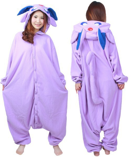 cartoon anime espeon lila erwachsene strampler cosplay pyjama polarfleece frauen m nner unisex. Black Bedroom Furniture Sets. Home Design Ideas