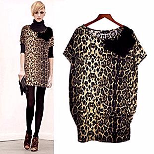 New Spring 2014 Women Casual Dress Leopard Print M Plus Size Women's Batwing Sleeves Loose O-neck Leopard Shirt Dress L XL XXL(China (Mainland))