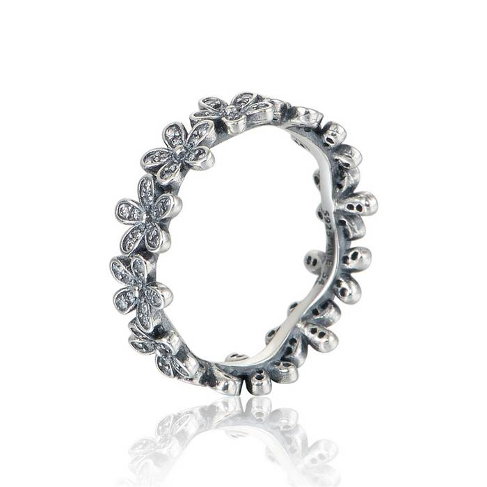 New Original Dazzling Daisy Band Rings Rose Band With Cubic Zirconia Authentic 925 Sterling Silver For Women Fashion Ring RIP160(China (Mainland))