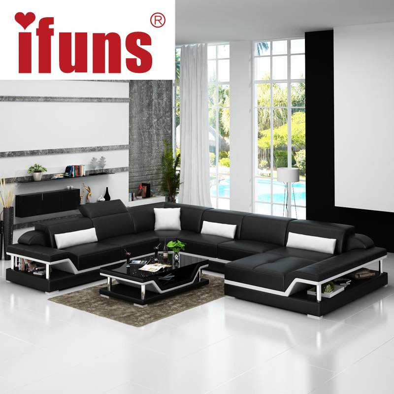 Ifuns u shaped black genuine leather modern sectional sofa for Drawing room furniture set
