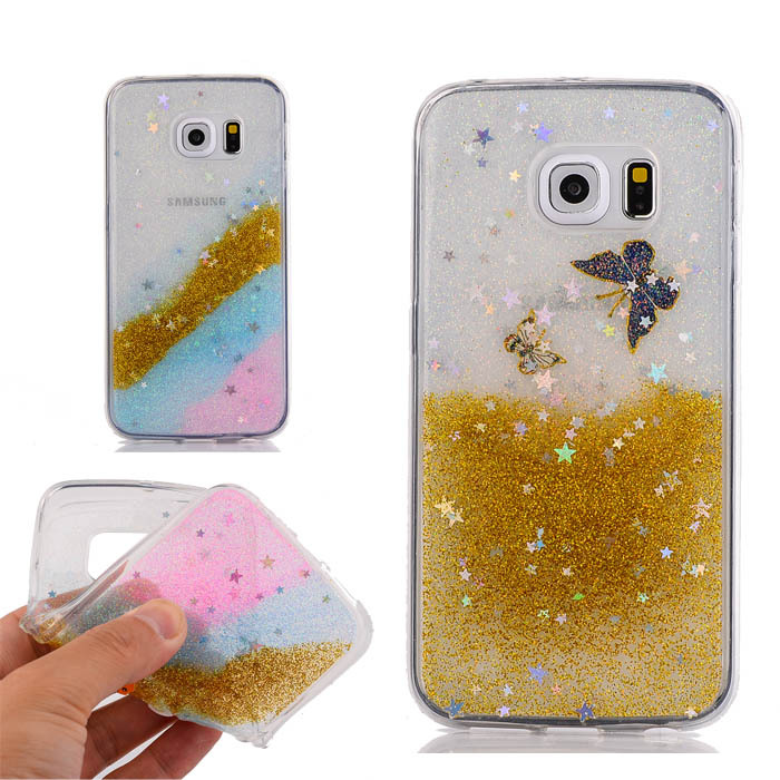 Rainbow Glitter Bling Stars Case For Samsung Galaxy S6 Edge G9250 Soft TPU Cute Butterfly Luxury Clear Back Cover New Style(China (Mainland))