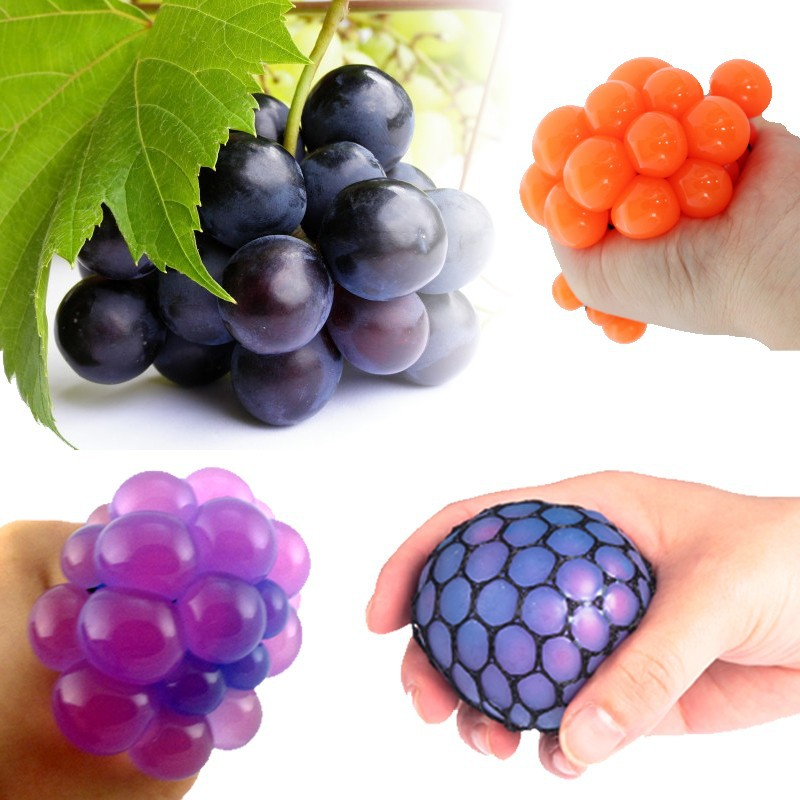 Funny 5cm Stress Ball Novetly Print Squeeze Ball Hand Wrist Exercise Stress Ball PU Toy Balls For Healthy Relax Grape Shape(China (Mainland))