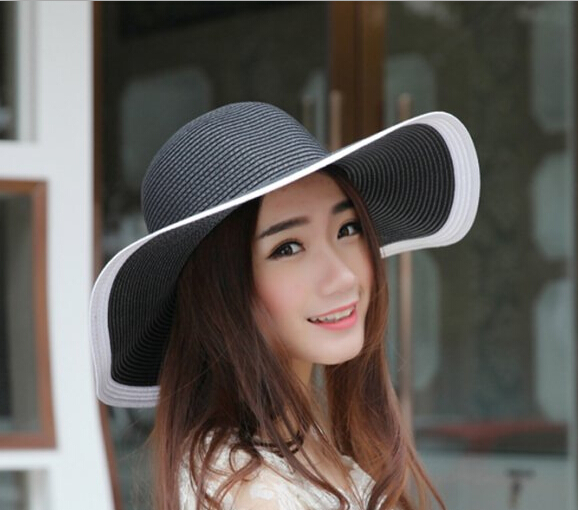 Wholesale Designer Ladies Black Wide Brim Paper Hat Fashion Women Big Summer Straw Beach Hats Trendy Womens Large Sun Cap China(China (Mainland))