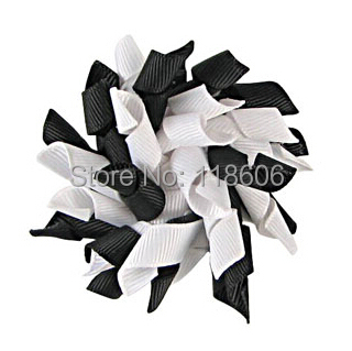100pcs Korker Hair Bow Clip Black and White Clippie Small Korker Bow Free Shipping(China (Mainland))