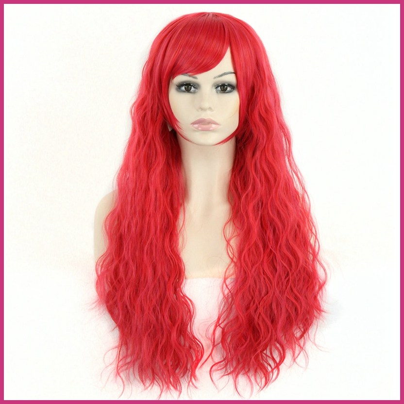 New Sexy Women Girls Lolita Long 70cm RED Curly Wavy Anime Cosplay Wigs Queen Beauty Natural Synthetic Hair Products(China (Mainland))