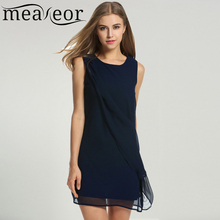Buy Meaneor Women's Chiffon Dress Summer Autumn Casual Straight O-neck Sleeveless solid A-Line Cocktail Club Party Mini Vestidos for $11.44 in AliExpress store