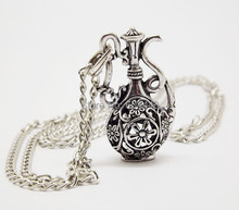 NQ027 Antique Silver Hollow Bottle Flagon Pendant costume Long Chain Vintage Necklace Jewelry bijouterie for Women Girls(China (Mainland))