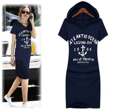 Hot!European Style Summer Dress 2016 New Women Short-sleeve Casual Dress 100% Cotton Vestidos Plus Size Hooded Dresses TP321(China (Mainland))