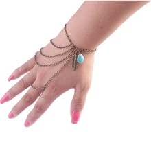 Women Fashion Charming Boho Spangle Turquoise Bracelet Multilayer Harness Hand Chain Bangle #71391(China (Mainland))