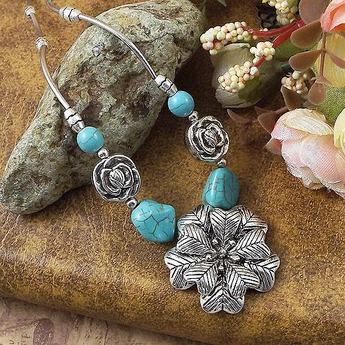 Star Jewelry Tibetan Silver Plated Statement Vintage Necklaces Flower Turquoise necklace & pendants Woman Z76 - NO.1 store