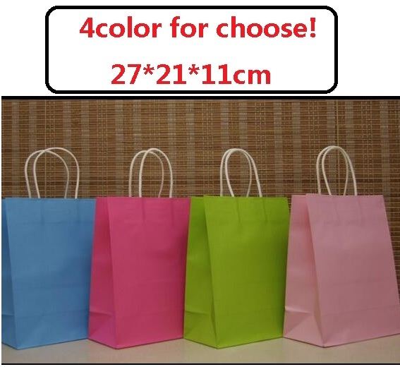 30PCS sweet color paper bag with handle/Multifunction wedding birthday party bag/Fashionable cloth shoes paper bags 27*21*11cm(China (Mainland))