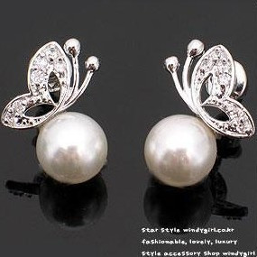 $10 (mix order) Free Shipping new Fashion Jewelry Cute Tassel Fima Pearl Stud Earring Butterfly Pearl Earring(White) E059 4g(China (Mainland))