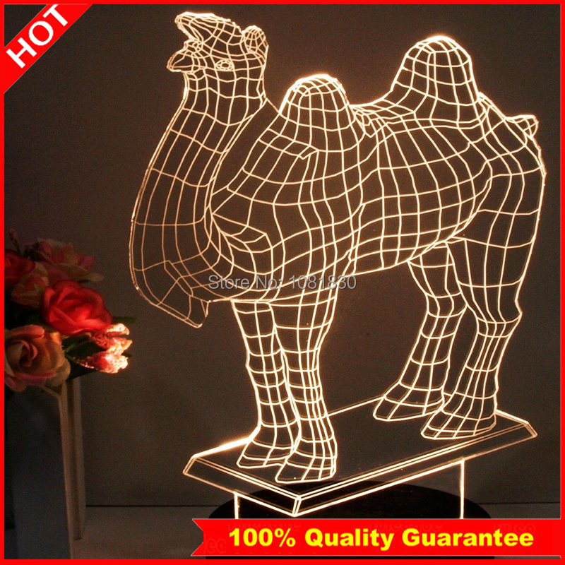 Free Shipping Camel 3D Night Light Deco Luminaria De Mesa Night Light For Children Baby Room Fancy Lamp Special Gift(China (Mainland))