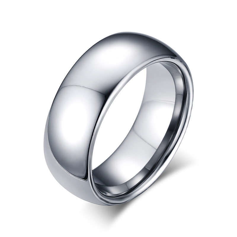 8MM Tungsten Steel Silver Plain Wedding Band Simple Promise Rings(China (Mainland))