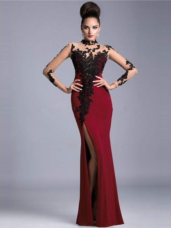 New Arrival Sexy high neckline side slit black lace red chiffon long sleeve prom dress 2015-in ...