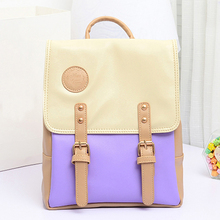 Fashion Hot Contrast Color Leather Backpack Women Backpacks Sweet Beautiful Gril's School Bag(China (Mainland))