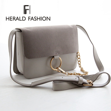 Herald Fashion Autumn and Winter Suede Leather Flap Bag Small Chain Women Messenger Bag Metal Circle Corssbody Bag For Female(China (Mainland))