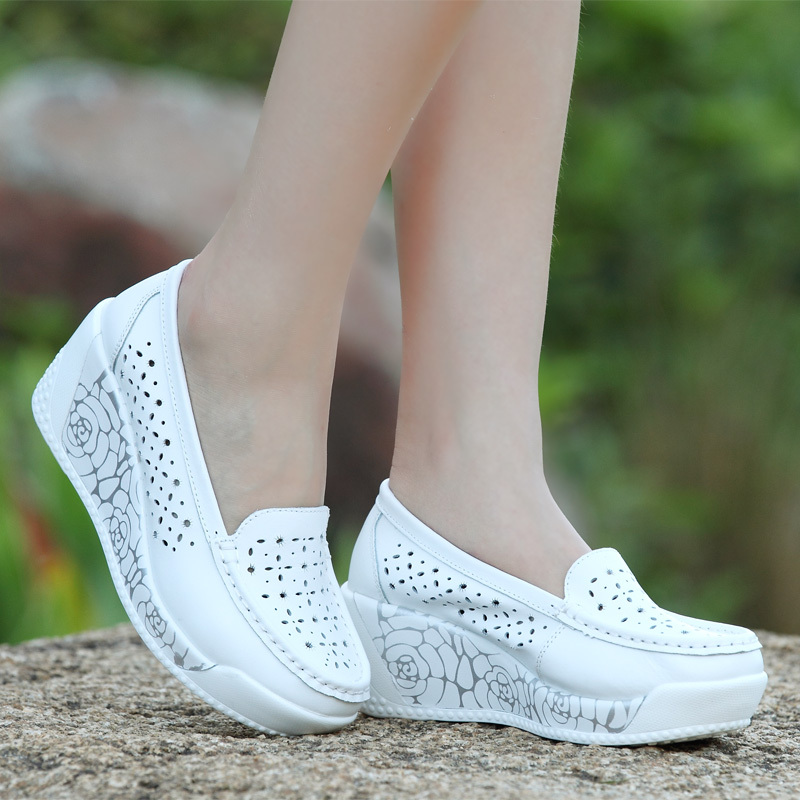 Гаджет  Spring/summer 2015 leather breathable nurse shoes white wedges  casual shoes hollow out large base platform shoes mother  None Обувь
