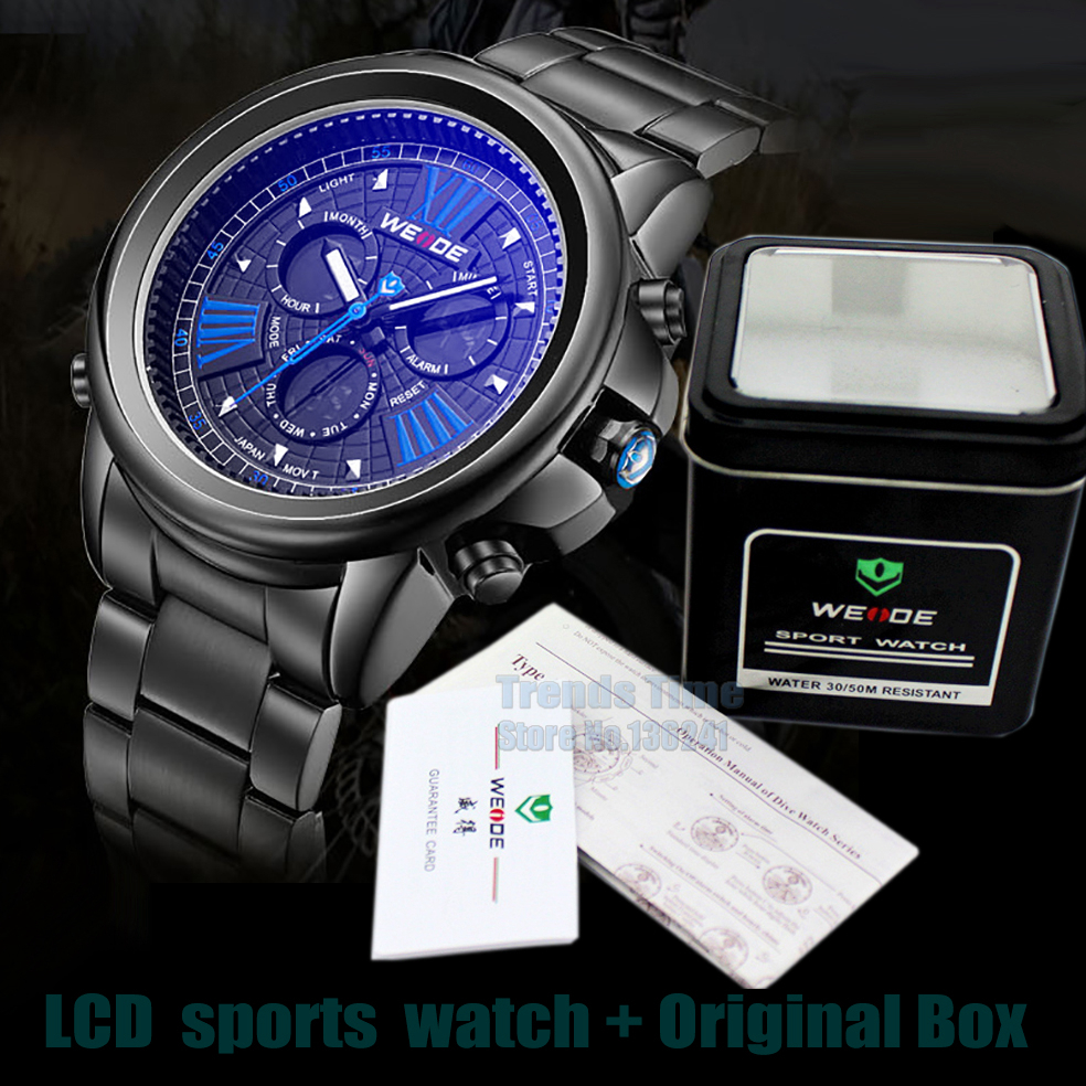 2015 with Box Men's Luxury Watches Man Japan Movt. Shark style Men Sports Steel Watch man LCD 3ATM shark sports Wirstwatches(China (Mainland))