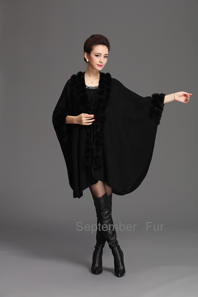 New 2016 Fashion Winter Big Size Natural Fur Coat for women real rabbit pompom scarf Luxury Women special Design long pashmina