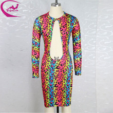 Sexy Women  Rainbow Leopard  Party Dress 2015 New  evening club bandage dress Fahion summer bodycon backless cut out dress(China (Mainland))