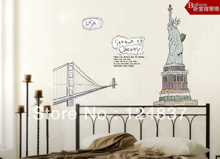 60cm 90cm Statue Of Liberty Wall Stickers 3d Wallpaper