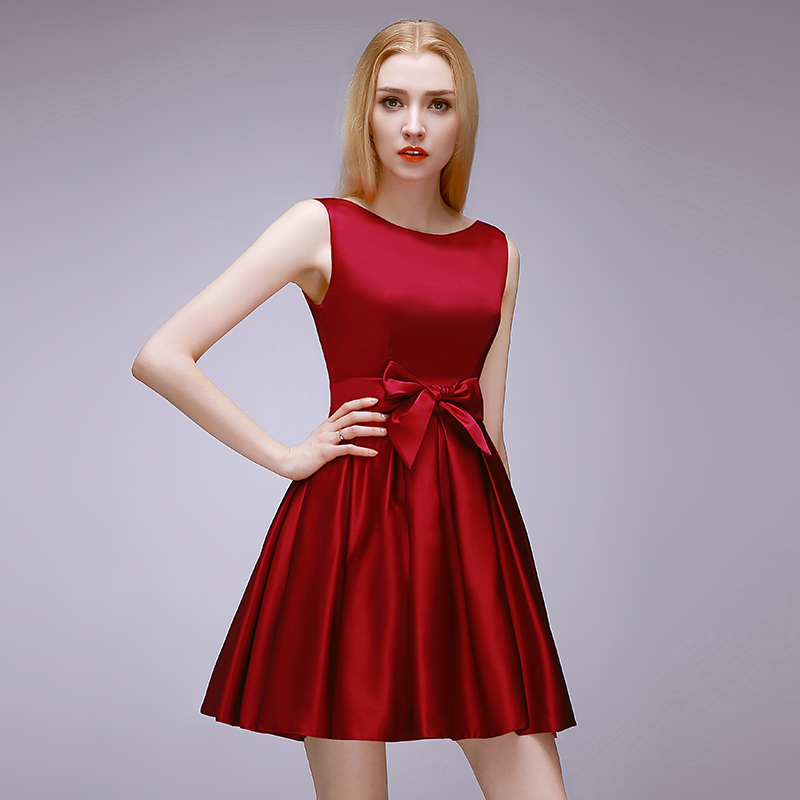 2015 high quality short dark red bridesmaid dress, wedding ...
