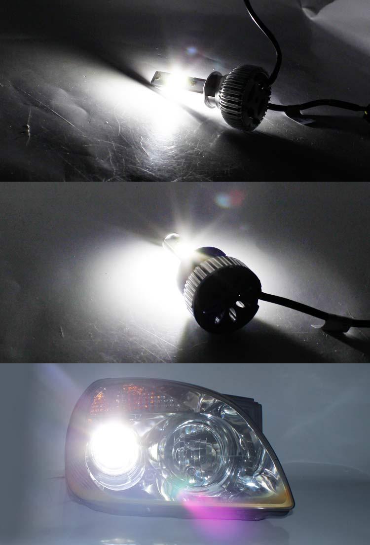 2x LED COB high power H3 48W/Set 7200LM/Set 6000k White Car Headlight Headlamps Single Beam Bulb long service life W/ Fans