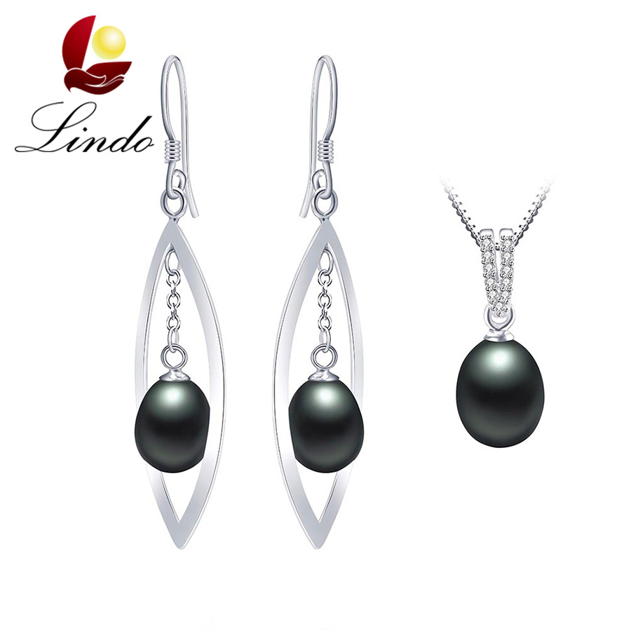 Elegant Top Quality 100% Natural Freshwater Pearl Women Jewelry Sets Fashion AAA Zirconia 925 Sterling Silver Necklace+Earrings(China (Mainland))