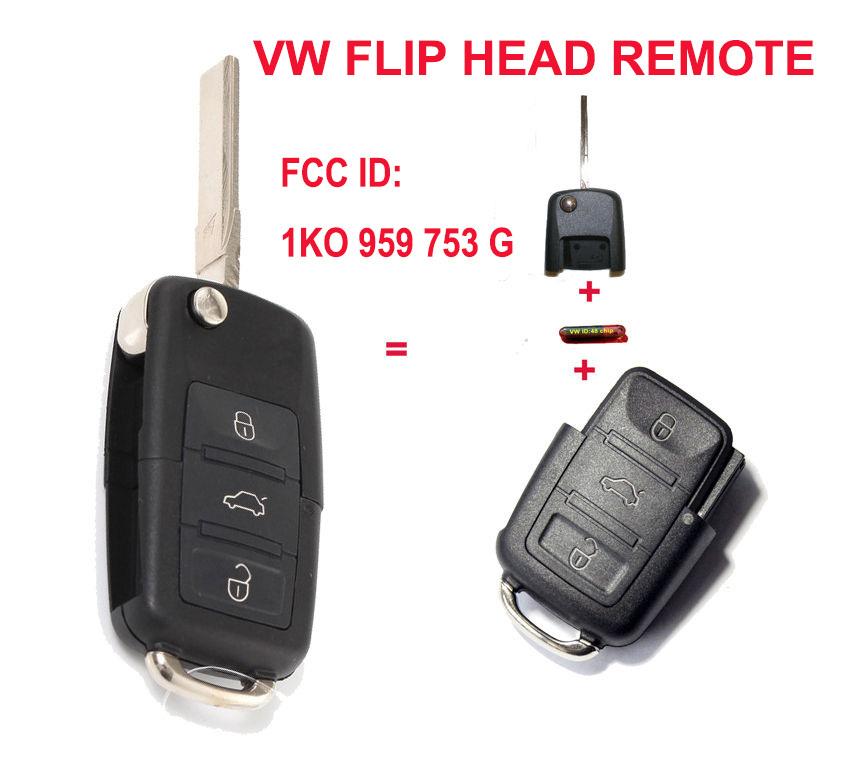 1K0 959 753 G 1K0959753G Folding Flip Key Keyless Entry Remote Transmitter For VW VOLKSWAGEN SEAT 3 Button 434MHZ With ID48 Chip<br><br>Aliexpress