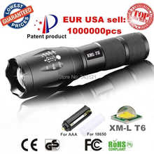 USA EU Hot E17/A100 CREE XM-L T6 led 2000Lumens Zoomable Flashlights Torches light lamps for AAA or 18650 Rechargeable batteries(China (Mainland))